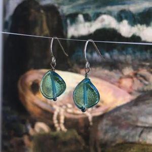 """116: """"Wave"""" Twisted Venetian Glass Earrings"""